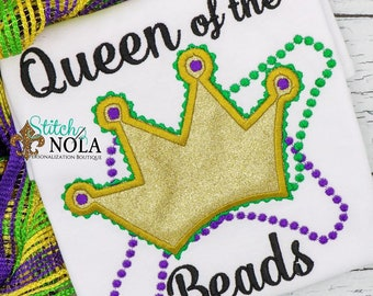 een of the Beads, Mardi Gras Applique, Mardi Gras Shirt, Mardi Gras Girl,  Queen Applique, Mardi Gras Queen Shirt, Boy Mardi Gras Shirt