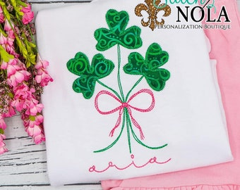 Shamrock Patch With Bow Top And Bottom Set, Clovers With Bow Applique, St Patrick's Day Applique, St Patty's Outfit, Girl St Patty's Outfit