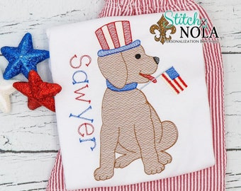 Patriotic Lab Top and Shorts Set, Patriotic Dog Fourth of July, Independence Day