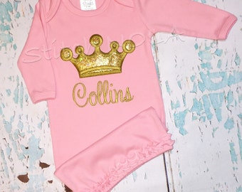 Ruffle Infant Gown with Princess Glitter Crown