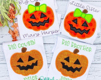 Personalized Jackolantern Sibling Applique, Big Sister, Little Sister, Big Brother, Little Brother, Big Cousin, Little Cousin Pumpkin