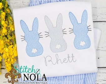Boy Bunny Trio Sketch Top And Bottom Set, Bunny Easter Sketch, Easter Embroidery, Boy Spring Embroidery, Boy Easter Outfit