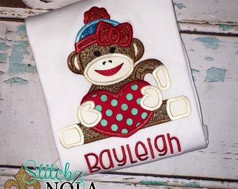 Valentine's Day Sock Monkey Shirt, Bodysuit, Romper or Gown