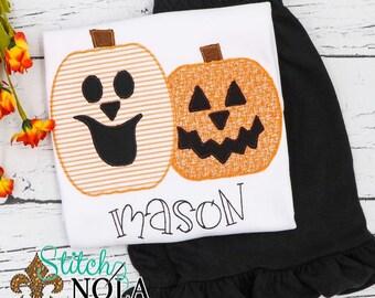Girls Jack-O'Lantern Shirt and Short Set, Pumpkin Applique, Girl Pumpkin Applique, Fall Applique, Pumpkin Patch Outfit