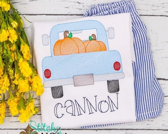 Pumpkin Truck Sketch Personalized Top and Shorts Set, Fall Outfit,  Embroidery, Pumpkin Patch Outfit