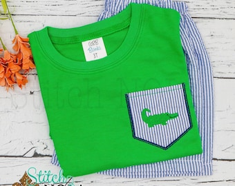 Gator Pocket Tee Set, Gator  Shorts Set, Gator  Shirt and Shorts, Boy Gator  Pocket Shirt, Toddler Gator Shorts Set