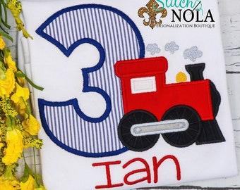 Train Birthday Number Applique, Train Birthday Shirt, Train Shirt, Birthday Shirt, Boy Birthday Shirt
