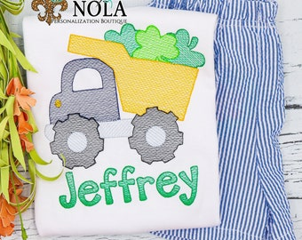 St Patrick's Day Dump Truck with Shamrock Top & Shorts Set, Shamrock Sketch Embroidery, St Patrick's Day Outfit