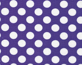 White Dots on Purple Fabric,Purple Polka Dots, Fabric Finders, 100% Cotton,