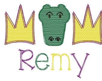 Mardi Gras Gator and Crown Trio Sketch Embroidery, Mardi Gras  Sketch Embroidery,  Mardi Gras Shirt