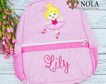Seersucker Backpack with Ballerina Applique, Seersucker Diaper Bag, Seersucker School Bag, Seersucker Bag, Diaper Bag, School Bag, Book