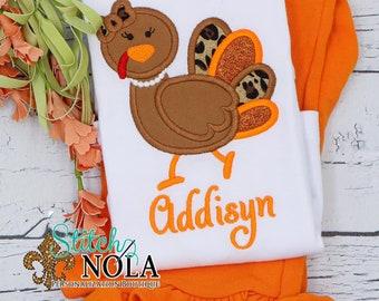 Sassy Girl Turkey Top And Bottom Set, Turkey Applique, Thanksgiving Applique, Thanksgiving Outfit