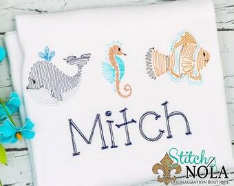 Sea Creatures Scribble, Sea Creatures Vintage Stitch, Sea Creatures  Trio, Sea Creatures Shirt, Sea Creatures