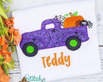 Halloween Truck Shirt, Boys Halloween Shirt, Halloween Truck carrying Spider, Pumpkin and Spider Shirt