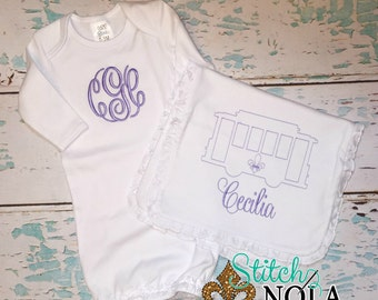 Streetcar Gown, Bib & Burp Cloth, Baby going home outfit