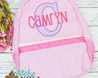 Seersucker Backpack with Letter Applique, Seersucker Monogrammed Diaper Bag, Seersucker School Bag, Diaper Bag, School Bag, Book Bag,