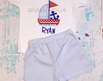 Sailboat with Anchor Boy Shirt and Shorts Set, Sailboat Applique, Anchor Applique, Summer Shorts Set, Toddler Beach Outfit, Seersucker Short