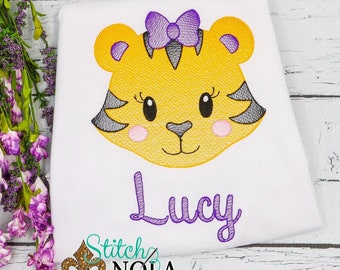 Tiger Sketch Personalized, Girls Tiger Shirt, Girls Football Tiger Shirt, Purple and Gold Tiger Outfit
