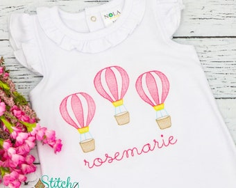 Hot Air Balloon Trio Sketch Embroidery, Hot Air Balloon Shirt
