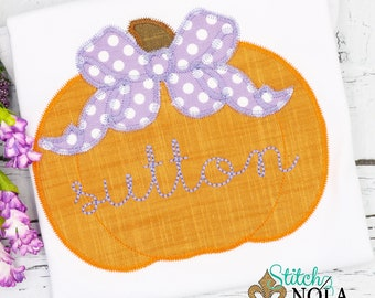 Pumpkin with Bow Applique, Pumpkin Applique, Girl Pumpkin Applique, Fall Applique, Pumpkin Patch Outfit