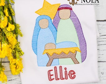 Baby Jesus In Mange Embroidery, Jesus, Mary And Joseph, Christ Is Born, Christmas