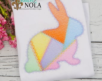 Patch Work Bunny Sketch, Easter Sketch Embroidery, Easter Bunny Embroidery, Spring Embroidery, Easter Shirt