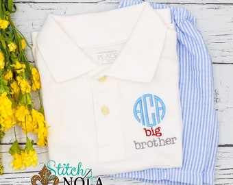 Big Brother Outfit, Monogrammed Big Brother Polo Shirt, Sibling Outfit