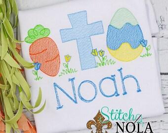 Carrot Cross Egg Sketch Embroidery, Easter Sketch Embroidery, Spring Embroidery, Easter Shirt, Boy Easter Shirt