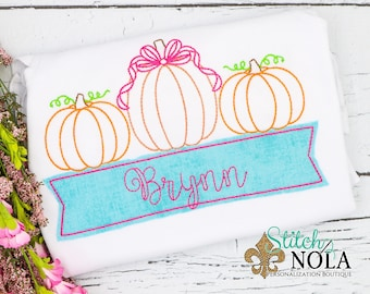 Vintage Pumpkin Trio with Bow and  Name Box, Vintage Pumpkin Trio Embroidery, Pumpkin Patch Shirt, Girl Pumpkins