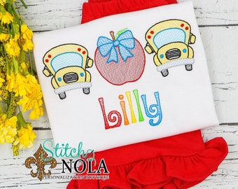 Apple and School Bus Trio School Personalized Top and Shorts Set, Back to School Outfit, Embroidery, Pre-School Outfit, Kindergarten Shirt