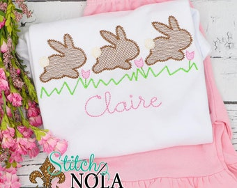 Hopping Bunnies in Flowers Trio Top And Bottom Set, Easter Sketch Embroidery, Spring Embroidery, Easter Outfit, Bunny Outfit