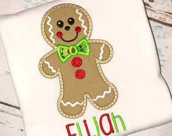 Gingerbread Man Applique, Gingerbread Man Shirt, Gingerbread Man with BowTie, Christmas Shirt, Boy Christmas Shirt