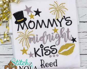 Mommy's Midnight Kiss Embroidery, New Year's Eve Embroidery, Kid New Year's Shirt, Kid New Years Eve Outfit