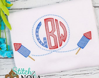 Fireworks Monogram Sketch Embroidery, Personalized Fourth of July, Patriotic Monogram
