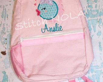 Seersucker Backpack with Bubble Fish, Seersucker Diaper Bag, Seersucker School Bag, Seersucker Bag, Diaper Bag, School Bag, Book Bag, Backpa