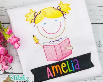 Stick Figure Back to School Cutie Sketch Embroidery, Back to School Embroidery, Book Sketch