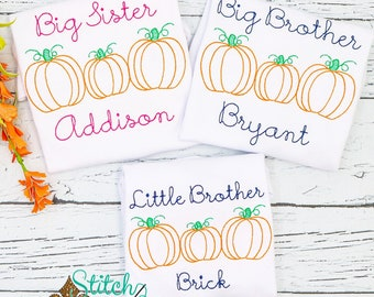 Pumpkin Trio Sibling Sketch Shirt, Pumpkin Sketch Shirt, Fall Shirt, Pumpkin Truck Shirt, Big Sister, Little Sister, Big Brother, Little Bro