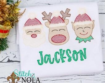 Christmas Elf, Santa And Reindeer Sketch, Christmas Embroidery Trio, Vintage Holiday Embroidery, Christmas Shirt, Xmas Shirt