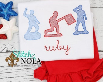 Patriotic Army Men Trio Shirt and Short Set, Patriotic Army Embroidery Outfit, Fourth of July Monogrammed Shirt