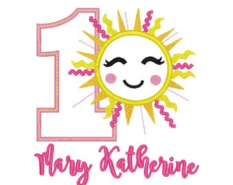 Sunshine Birthday Applique, You are My Sunshine Applique, Summer Birthday, Sun Birthday, Sunshine Birthday