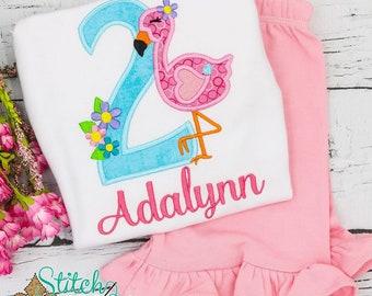 Flamingo Birthday Top and Shorts Set, Flamingo Applique, Flamingo Birthday