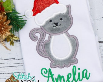 Christmas Cat Applique, Cat with Santa Hat Applique, Christmas KItten Applique, Personalized Christmas Applique, XMAS Pictures