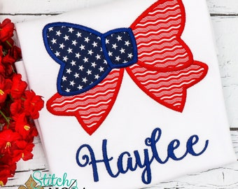 Patriotic Bow Applique, American Flag, Patriotic  Applique, Red White and Blue Applique, America Applique, Memorial Day, Fourth of July