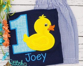Rubber Duck Birthday Applique Shorts Set, Duck Shirt and Shorts, Duck Applique
