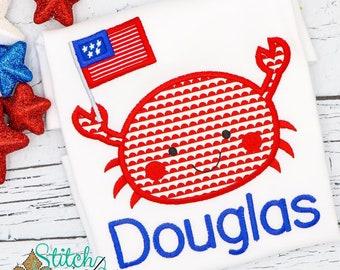 Patriotic Crab Applique, Boy Crab Applique, Girl Crab Applique Patriotic Applique, Fourth of July Shirt, Memorial Day Shirt,