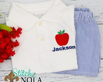 Back to School Shirt and Shorts Set, Back to School Apple Shirt, School Polo