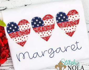Patriotic Heart Trio Applique, Heart Trio Applique, Patriotic Applique, Fourth of July Shirt, Memorial Day Shirt, Heart Shirt, Toddler Heart