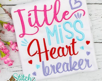Little Miss Heart Breaker, Heart Sketch Embroidery, Valentines Day Embroidery