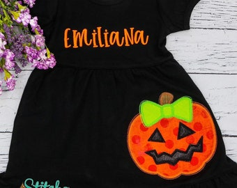Jack-o-lantern with Bow Applique, Pumpkin Dress, Halloween Dress, Pumpkin Applique, Halloween Applique