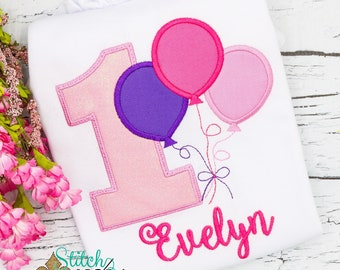Balloons Birthday Shirt, Balloons Applique, Birthday Shirt with Balloons